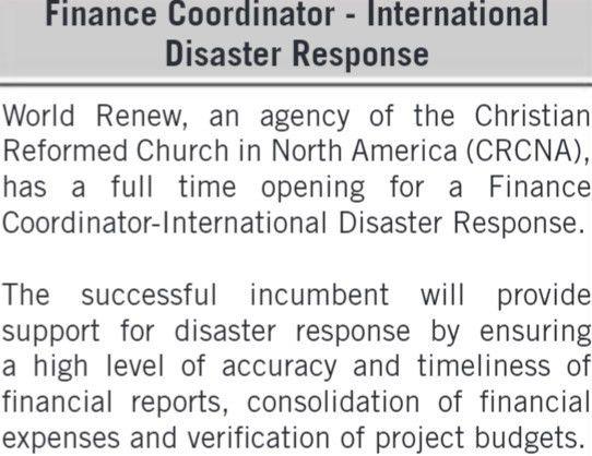2017 World Renew Kenya Finance Coordinator Job - JobSpot Kenya