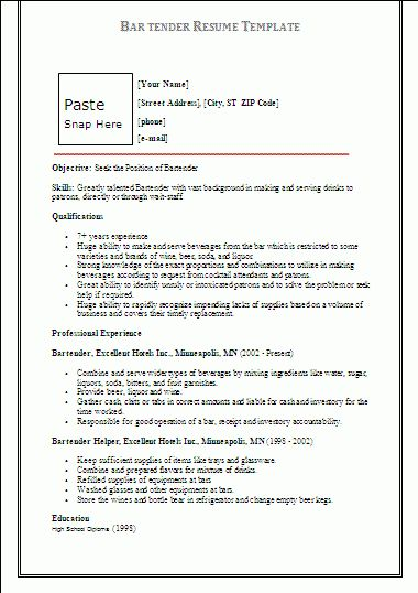 barman cv example cv bartender english resume creator template ...