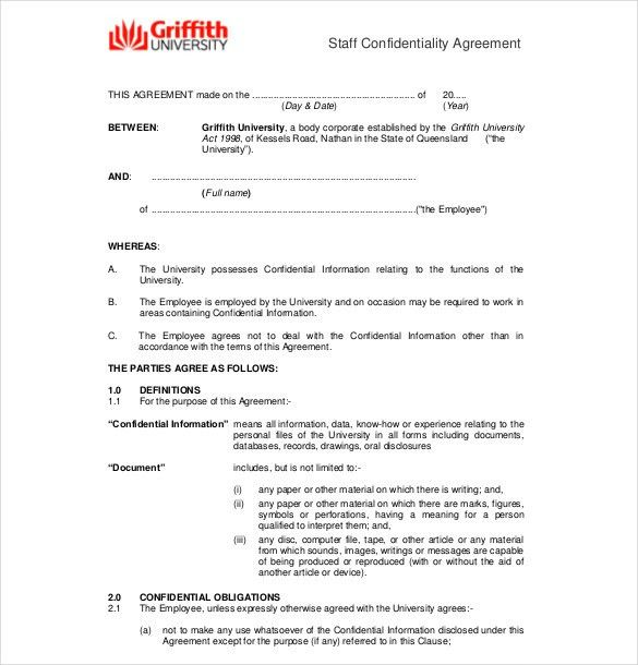 Confidentiality Agreement Templates – 8+ Free Word Documents ...