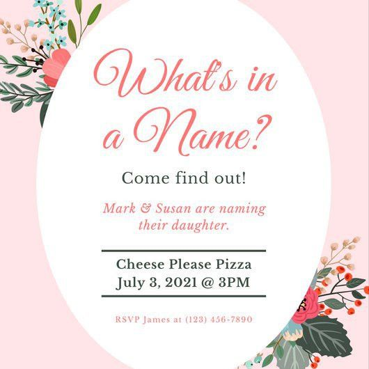 Pink Floral Baby Naming Ceremony Invitation - Templates by Canva