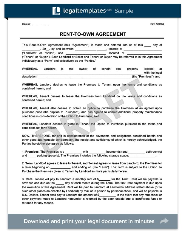 Rent-to-Own Agreement | Create a Free Rent-to-Own Contract | Legal ...