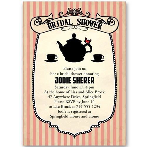 Classic printable bridal shower invitations tea party EWBS054 as ...