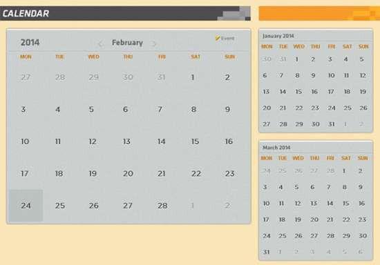 15 Free CSS/HTML Calendar Element & Templates - XDesigns