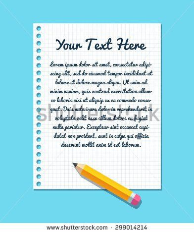 Text Template On Sheet Lined Notebook Stock Vector 299014214 ...