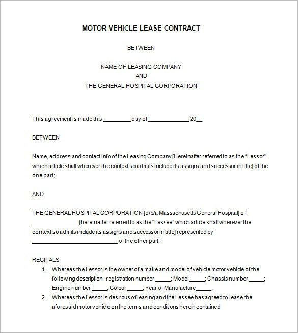 Vehicle Lease Agreement Templete. Sample Auto Lease Agreement Auto ...