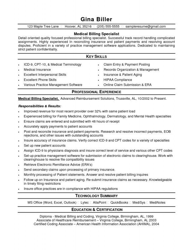 Entry Level Medical Billing And Coding Resume | Samples Of Resumes
