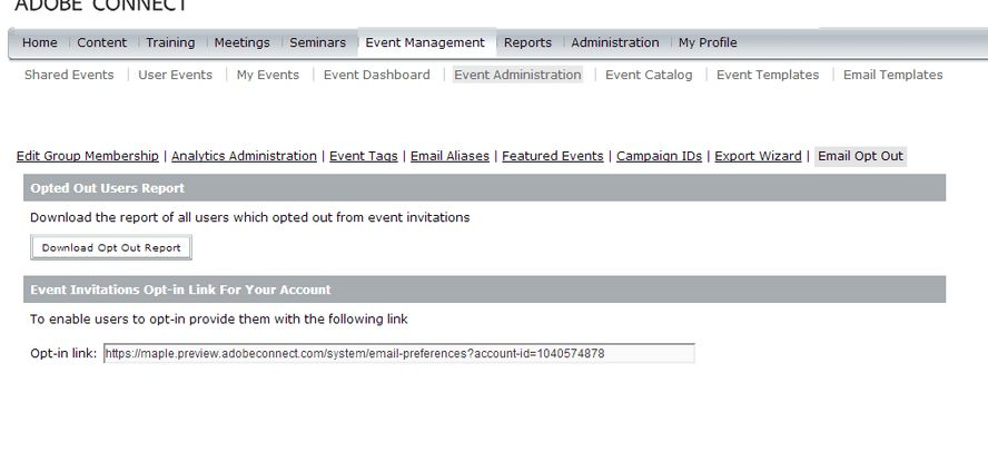 Create and modify Adobe Connect Events