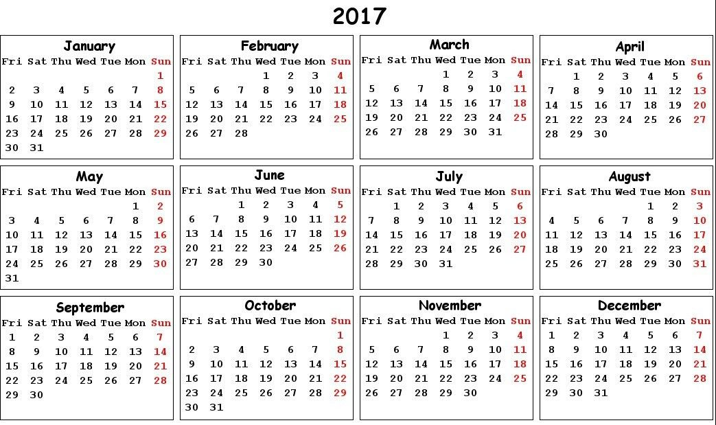 2017 Calendar with Holidays [US, UK, Canada] | Free Printable ...