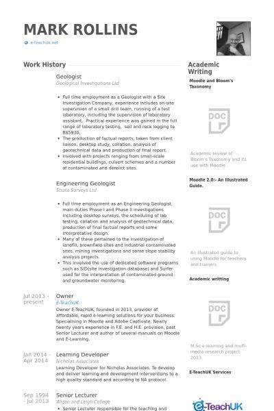 Geologist Resume samples - VisualCV resume samples database