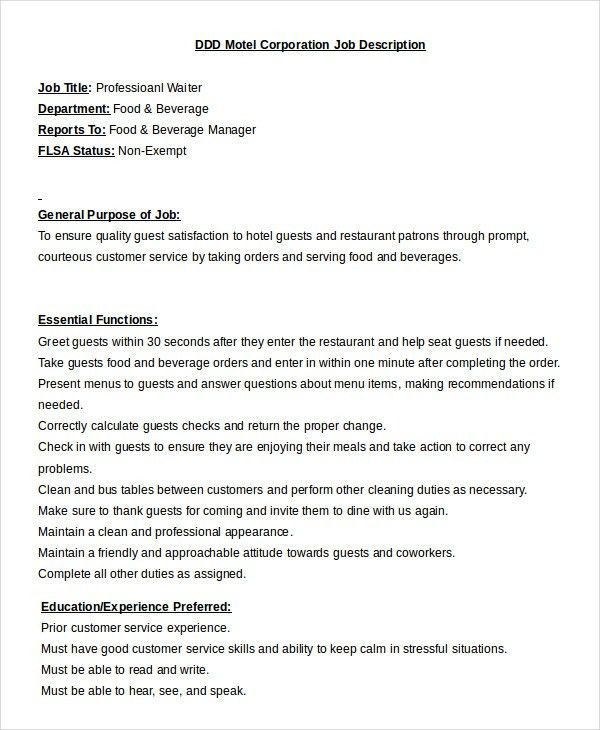 Waiter Job Description Template   9+ Free Sample, Example, Format .