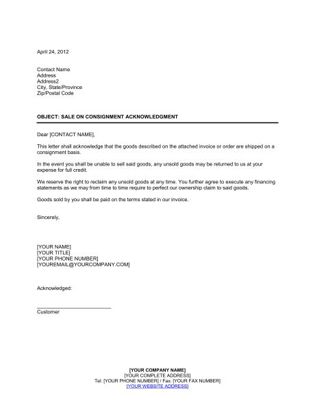 Consignment Agreement - Template & Sample Form | Biztree.com