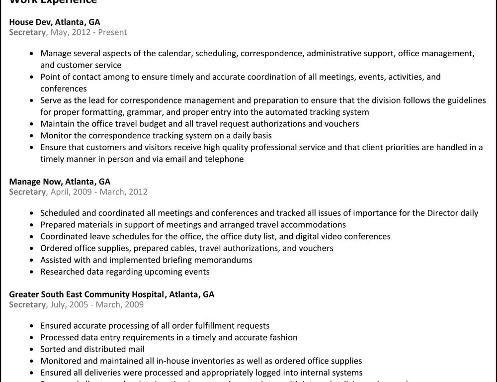 Download Secretary Resume Examples | haadyaooverbayresort.com