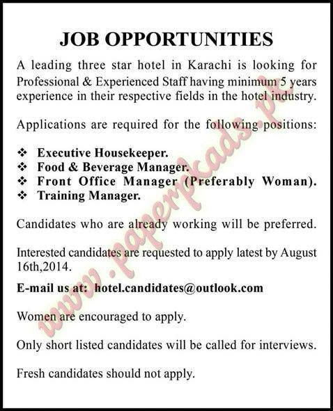 Executive Housekeeper, Food and Beverage Manager, Front Office ...