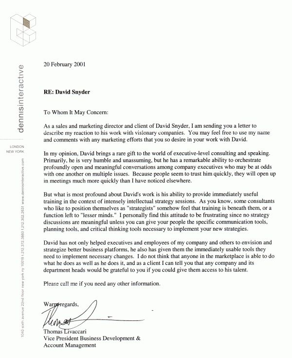 EXAMPLE OF REFERENCE LETTER | designproposalexample.com