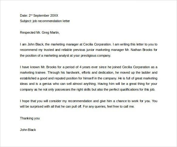 Personal Letter Of Recommendation For Employment | The Letter Sample