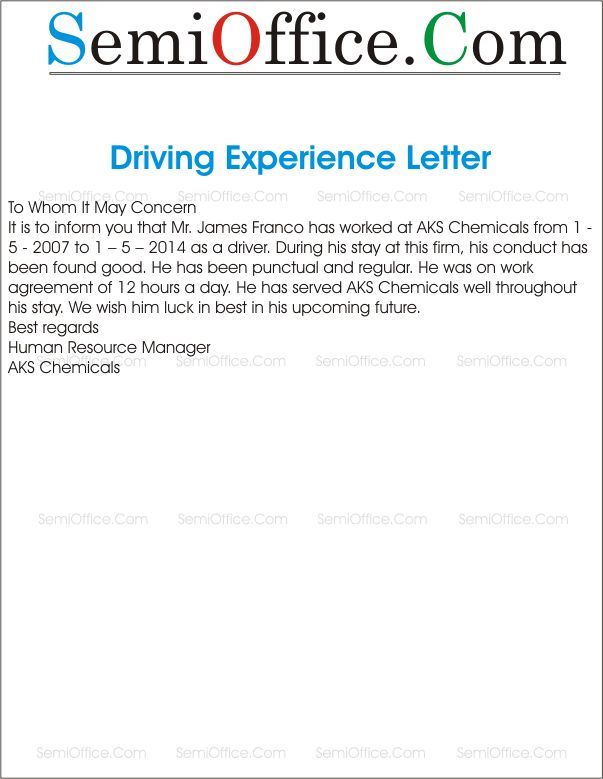 Experience Letter For Driver
