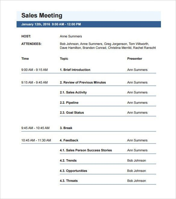Agenda Examples Templates Free Meeting Agenda Template Sample – Agenda Samples in Word