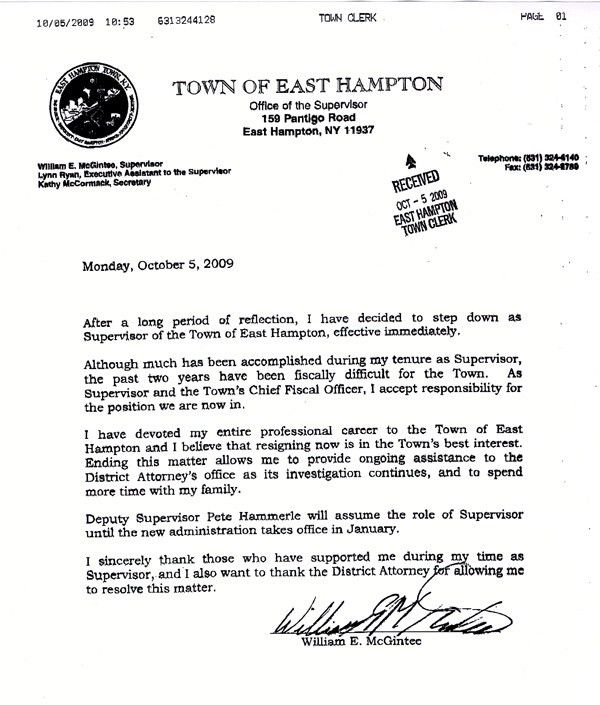 McGintee resigns as East Hampton supervisor - East Hampton - 27east