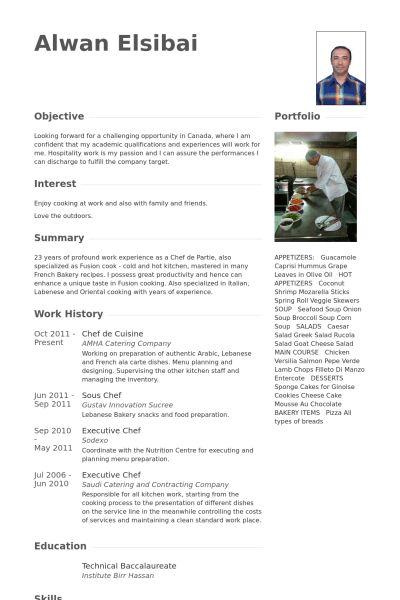 Chef De Cuisine CV Örneği - VisualCV Özgeçmiş Örnekleri Veritabanı