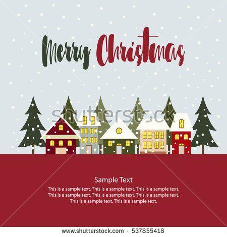 Christmas House Santa Greeting Card Banner Stock Vector 323884544 ...