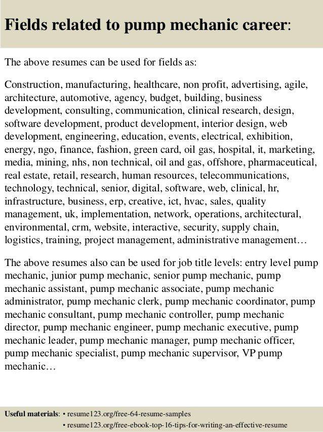 Top 8 pump mechanic resume samples