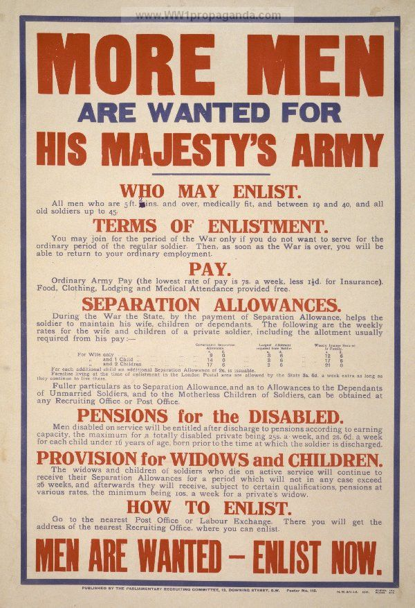 Examples of Propaganda from WW1 | More men are wanted for his ...