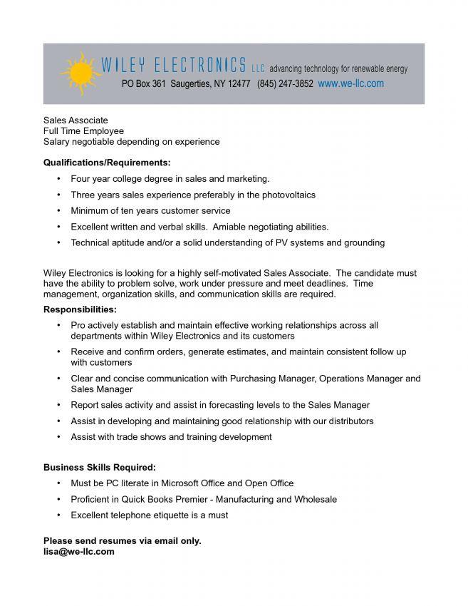 11 Job Description For Sales Associate Job Duties sales associate ...