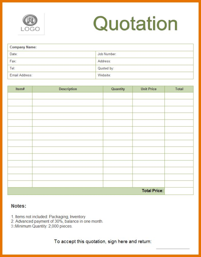6+ quote form template | Itinerary Template Sample