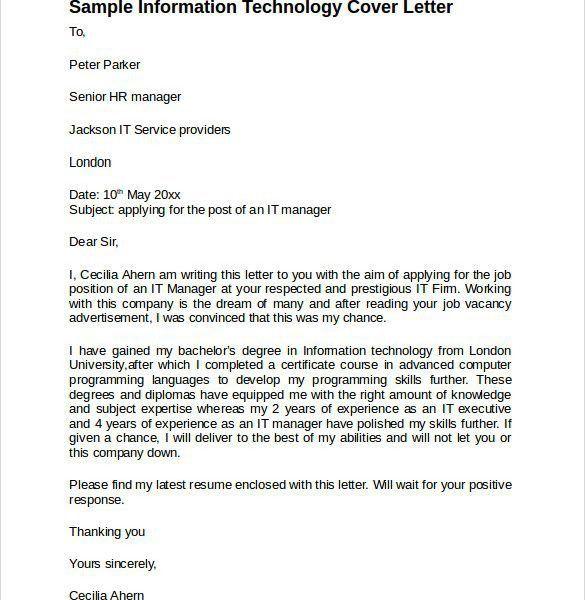 Majestic Design Information Technology Cover Letter 6 Sample ...