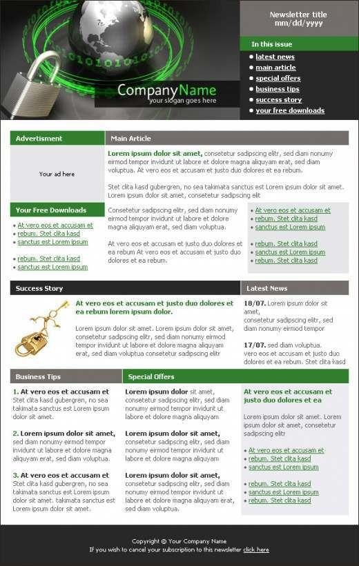 Security Company Newsletter Template - TemplatesBox.com