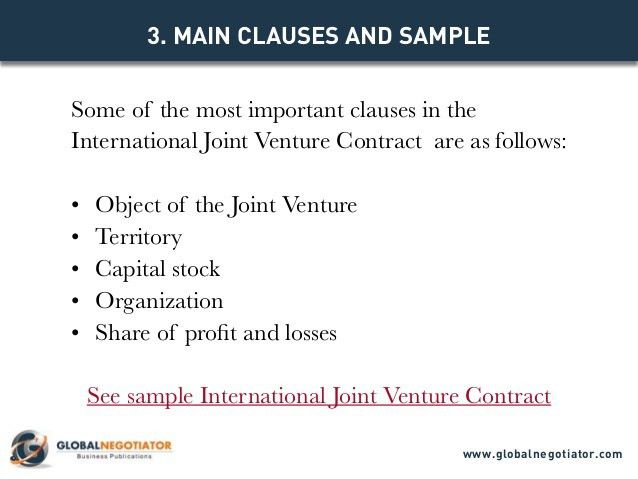 INTERNATIONAL JOINT VENTURE CONTRACT - Contract Template and Sample