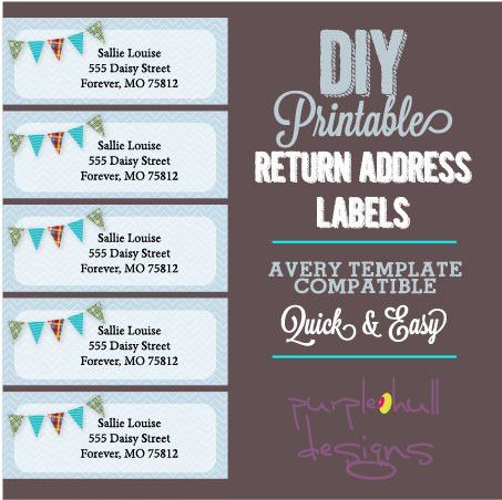 Pennant Banner Bunting Return Address Labels, Avery Template, DIY ...
