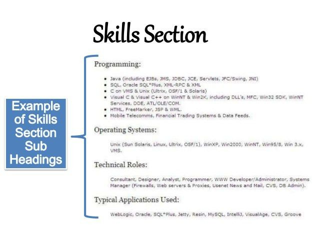 resume skills examples information technology resume sample entry ...