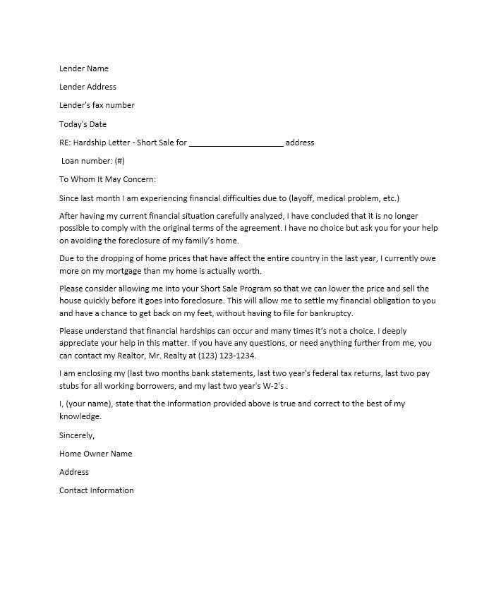 loan foreclosure letter format | Docoments Ojazlink