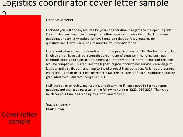 Cover letter examples for logistics coordinator