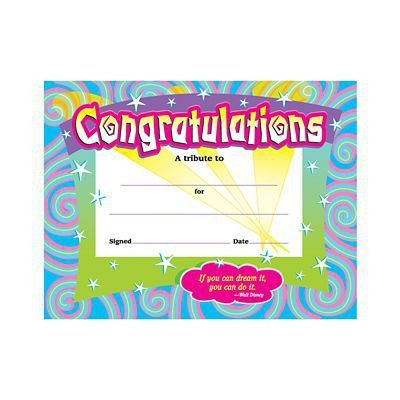 "Trend Enterprises® Spirals Congratulations Certificate,8 1/2""(L) x ..."