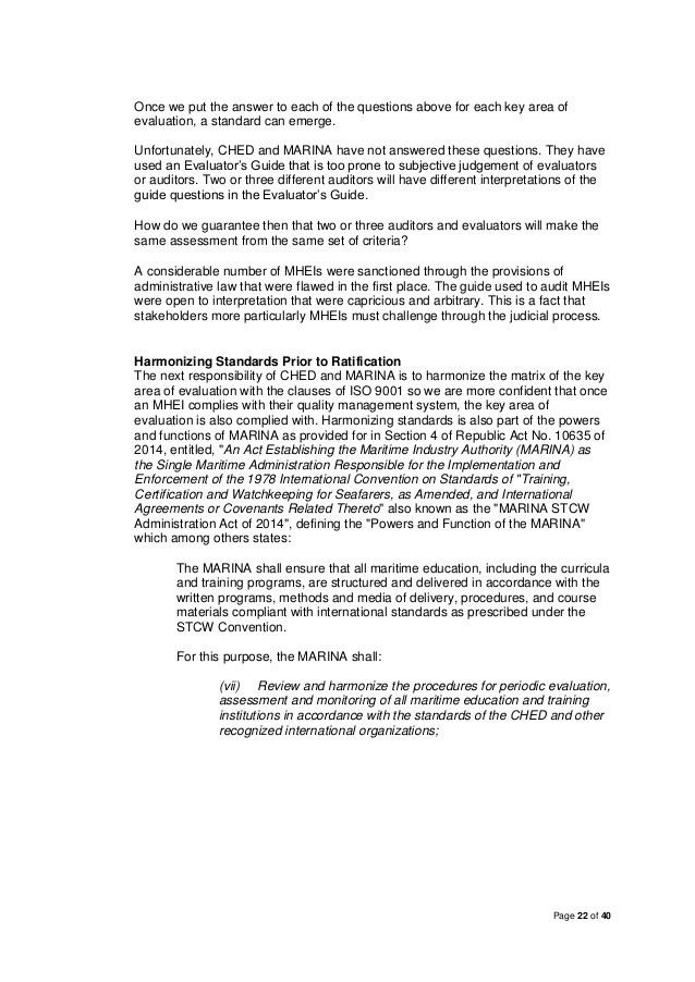 Position Paper: State of Philippine Maritime Education
