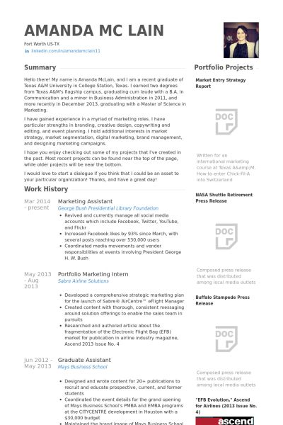 Marketing Assistant Resume samples - VisualCV resume samples database