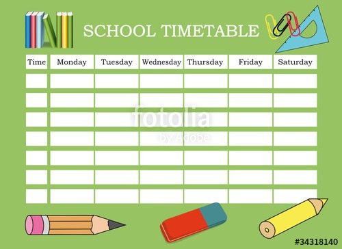 "SCHOOL TIMETABLE"" Stock image and royalty-free vector files on ..."