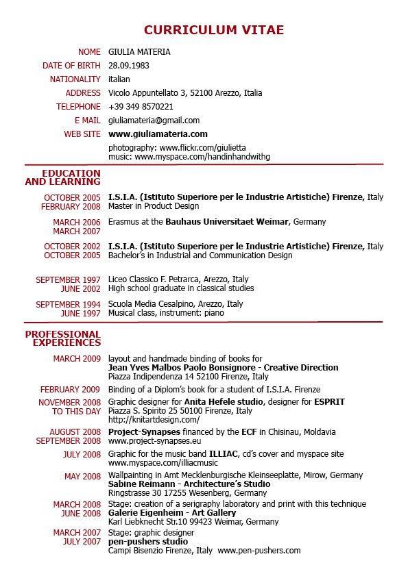 Curriculum Vitae Format PDF - http://topresume.info/curriculum ...