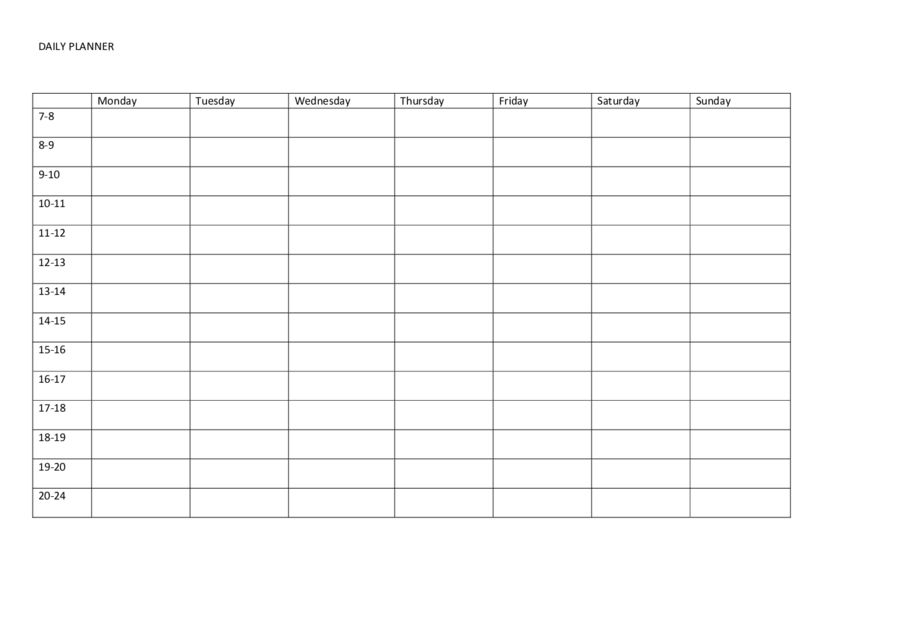 Daily Planner Template - Prinatble Daily Schedule Template