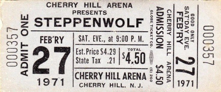 This classic Steppenwolf ticket from 1971 caught our eye. Concert ...