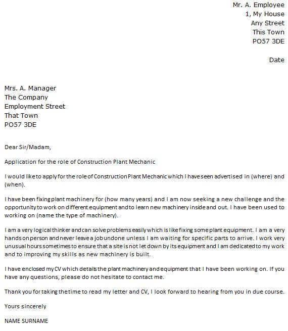 Construction Plant Mechanic Cover Letter Example - icover.org.uk