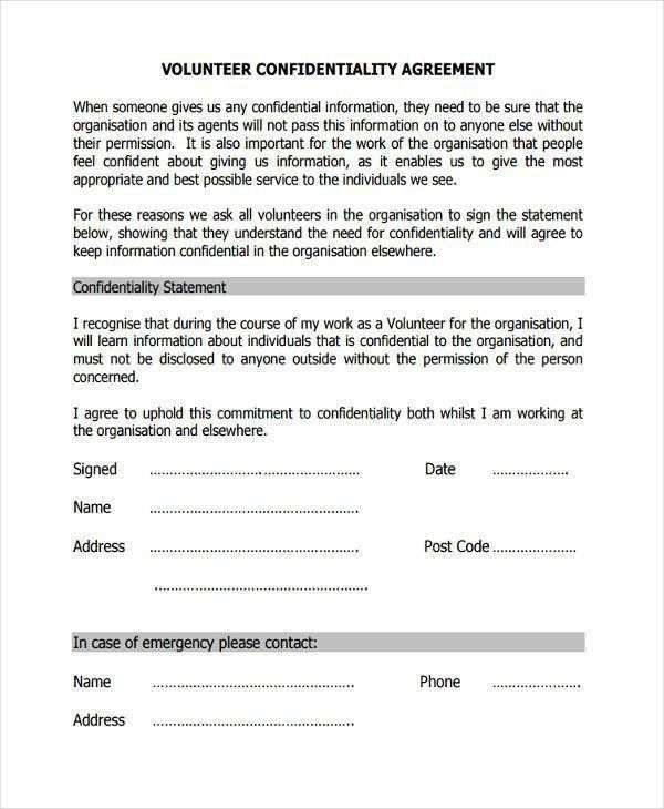 Volunteer Confidentiality Agreement. Example Of Medical ...