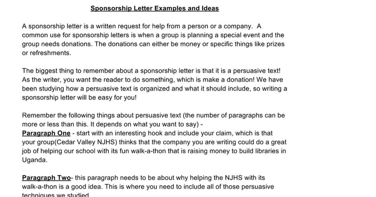 Sponsorship Letter Examples/Ideas - Google Docs