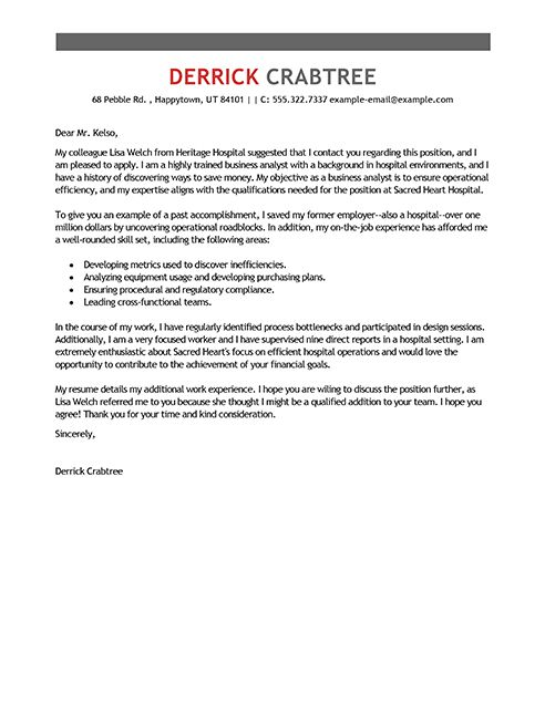 Cover Letter for Business Analyst Resume Downloads within Business ...