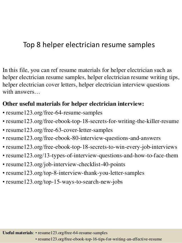 helper electrician resumes