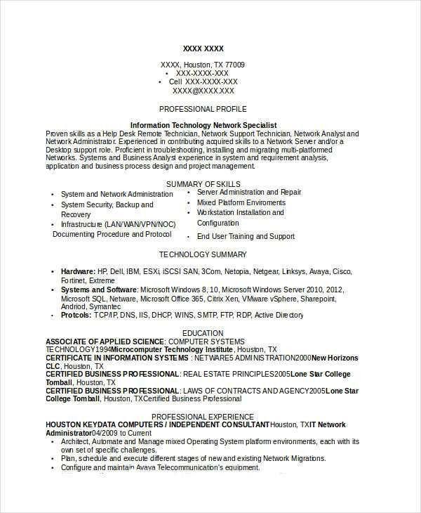Professional IT Resume Templates - 20+ Free Word, PDF Documents ...