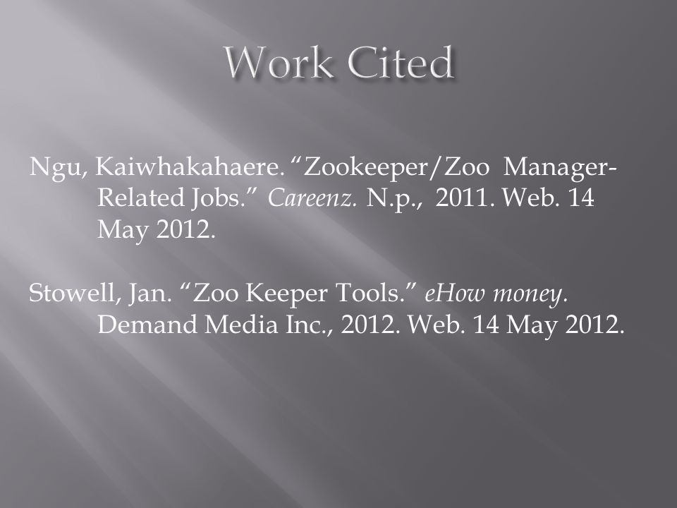 Zookeeper By: Kayla Wilbur. Why Zookeeper?  Interesting  Learn ...