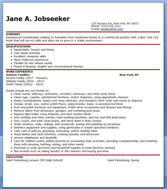 hospital housekeeping resume